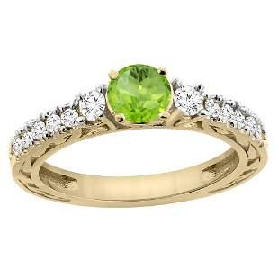 1.10 CTW Peridot & Diamond Ring 14K Yellow Gold -