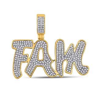 Round Diamond Fam Charm Pendant 1 Cttw 10KT Yellow Gold