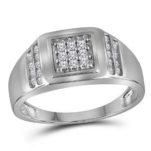 Round Diamond Square Cluster Ring 1/4 Cttw 10KT White