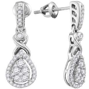 Round Diamond Teardrop Cluster Dangle Earrings 1/2 Cttw