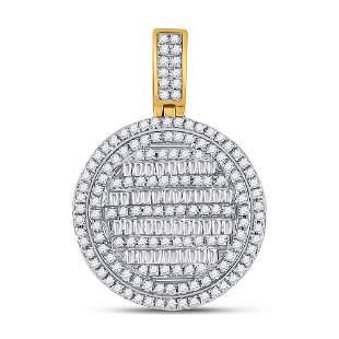 Baguette Diamond Circle Charm Pendant 3/4 Cttw 10KT