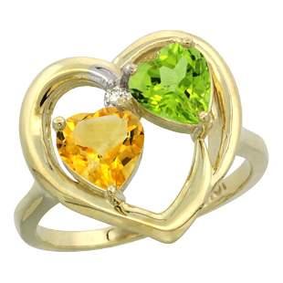2.61 CTW Diamond, Citrine & Peridot Ring 14K Yellow