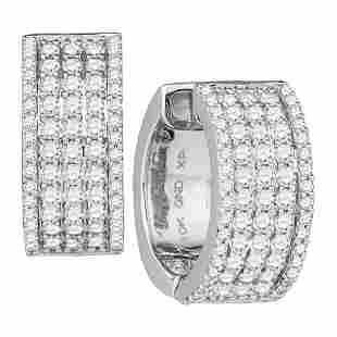 Round Diamond Huggie Earrings 1-5/8 Cttw 10KT White