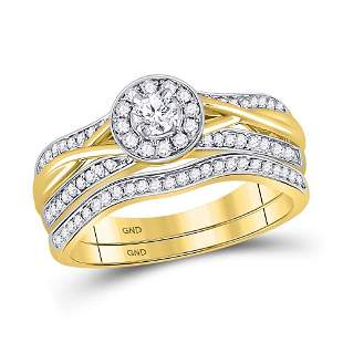Diamond Bridal Wedding Ring Band Set 1/2 Cttw 14KT