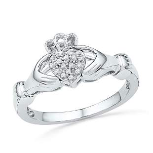 Round Diamond Claddagh Hands & Heart Cluster Ring 1/20