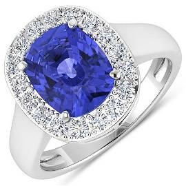 Natural 3.61 CTW Tanzanite & Diamond Ring 14K White