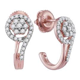 Round Diamond J Hoop Earrings 1/3 Cttw 10KT Rose Gold
