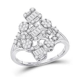 Baguette Diamond Scattered Cluster Ring 3/4 Cttw 14KT
