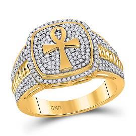 Round Diamond Ankh Cross Ring 5/8 Cttw 10KT Yellow Gold