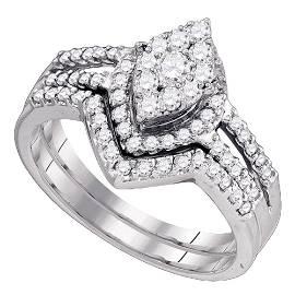 Diamond Oval Cluster Bridal Wedding Ring Band Set 3/4