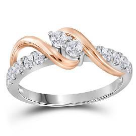 Diamond 2-stone Bridal Wedding Engagement Ring 1/2 Cttw