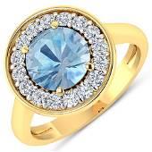 Natural 1.98 CTW Aquamarine & Diamond Ring 14K Yellow