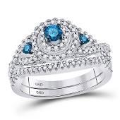 Round Blue Color Enhanced Diamond Bridal Wedding Ring