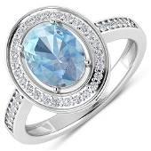 Natural 1.62 CTW Aquamarine & Diamond Ring 14K White