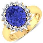 Natural 4.29 CTW Tanzanite & Diamond Ring 14K Yellow