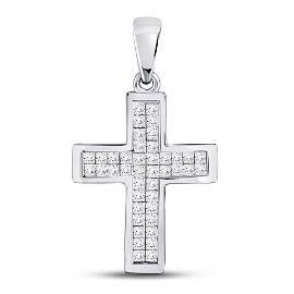 Round Diamond Cross Pendant 1 Cttw 10KT White Gold