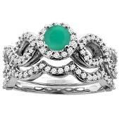 1.01 CTW Emerald & Diamond Ring 10K White Gold -