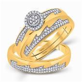 Diamond Cluster Matching Wedding Set 1/3 Cttw 10KT