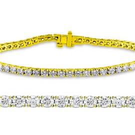 Natural 2ct VS2-SI1 Diamond Tennis Bracelet 18K Yellow