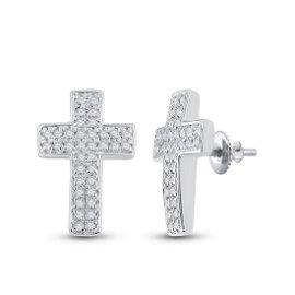 Round Diamond Cross Earrings 1/5 Cttw 10KT White Gold