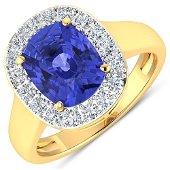 Natural 3.61 CTW Tanzanite & Diamond Ring 14K Yellow