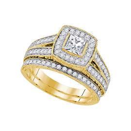Princess Halo Bridal Wedding Ring Band Set 1-1/4 Cttw
