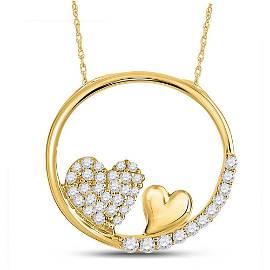 Round Diamond Heart Circle Pendant 1/5 Cttw 10KT Yellow