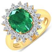 Natural 3.93 CTW Zambian Emerald & Diamond Ring 14K