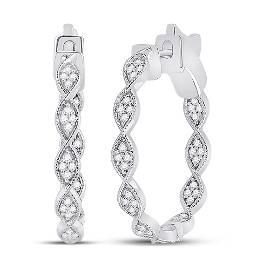 Round Diamond Fashion Hoop Earrings 5/8 Cttw 14KT White