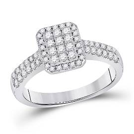 Round Diamond Rectangle Cluster Ring 1/2 Cttw 14KT