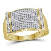 Round Diamond Rectangle Cluster Ring 1/2 Cttw 10KT