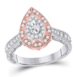 Halo Bridal Wedding Engagement Ring 3/4 Cttw 14KT