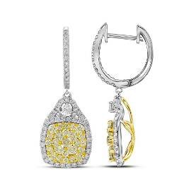 Round Canary Yellow Diamond Dangle Earrings 2-1/2 Cttw