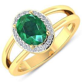 Natural 1.87 CTW Zambian Emerald & Diamond Ring 14K