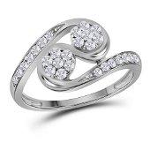 Round Diamond Cluster 2-stone Ring 1/2 Cttw 14KT White
