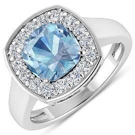Natural 2.18 CTW Aquamarine & Diamond Ring 14K White