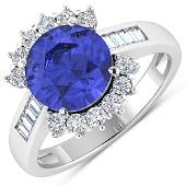 Natural 3.48 CTW Tanzanite & Diamond Ring 14K White