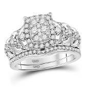 Diamond Bridal Wedding Ring Band Set 1 Cttw 14KT White