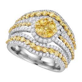 Round Yellow Diamond Stripe Cluster Ring 2 Cttw 14KT