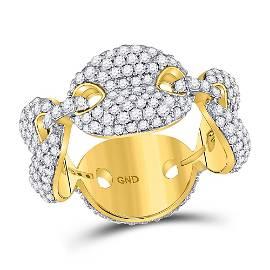 Round Diamond Statement Link Band Ring 2 Cttw 10KT
