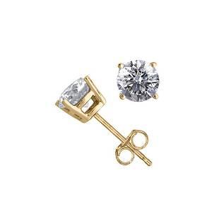 14K Yellow Gold 1.06 ctw Natural Diamond Stud Earrings