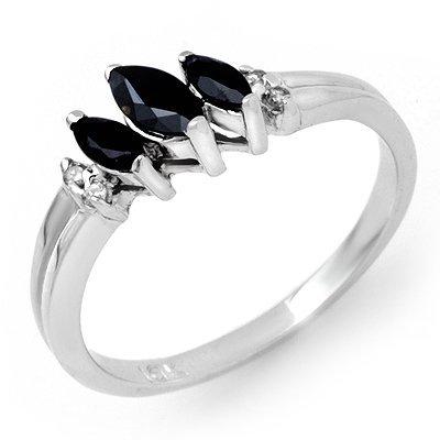 Genuine 0.29 ctw Sapphire & Diamond Ring 10K White Gold
