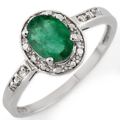 Genuine 0.85 ctw Emerald & Diamond Ring 10K White Gold