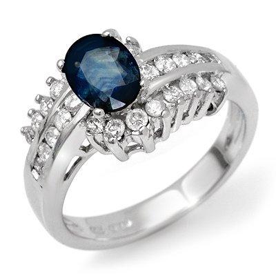 Genuine 1.75 ctw Sapphire & Diamond Ring 14K White Gold