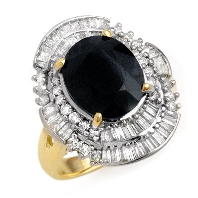 Genuine 5.95 ctw Sapphire & Diamond Ring 14K Yellow Gol