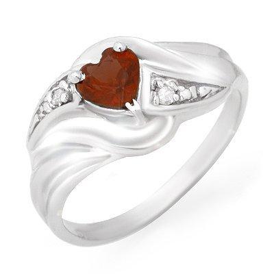 Genuine 0.61 ctw Garnet & Diamond Ring 10K White Gold