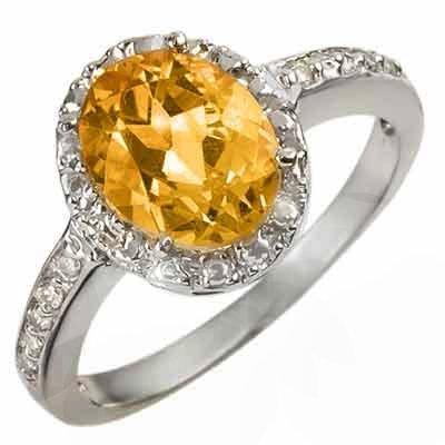 Genuine 2.10 ctw Citrine & Diamond Ring 10K White Gold