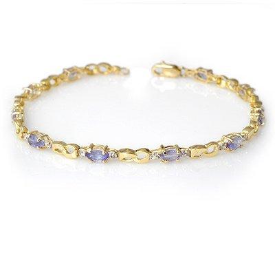 Genuine 2.06 ctw Tanzanite & Diamond Bracelet 10K Gold