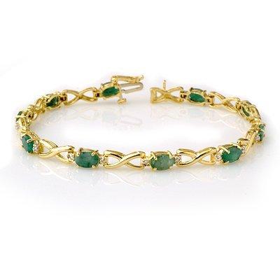 Genuine 5.85 ctw Emerald & Diamond Bracelet Yellow Gold