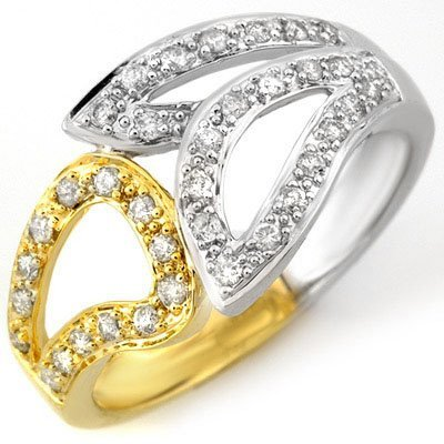 Natural 0.33 ctw Diamond Ring 10K Multi tone Gold